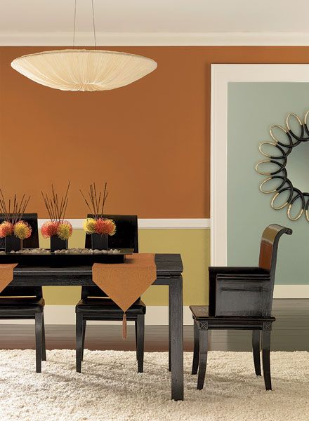 I like this color scheme.  Orange Dining Room Ideas - Fresh, Modern Dining Room - Paint Color Schemes