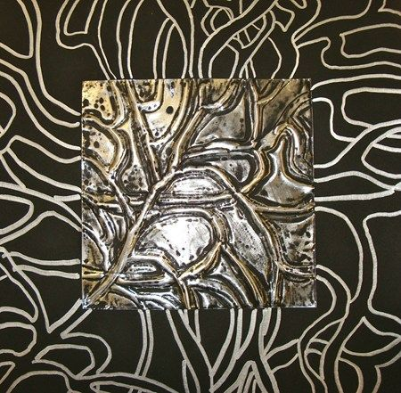 Emboss on Heavy Foil then continue pattern on to paper with silver sharpie..so cool!