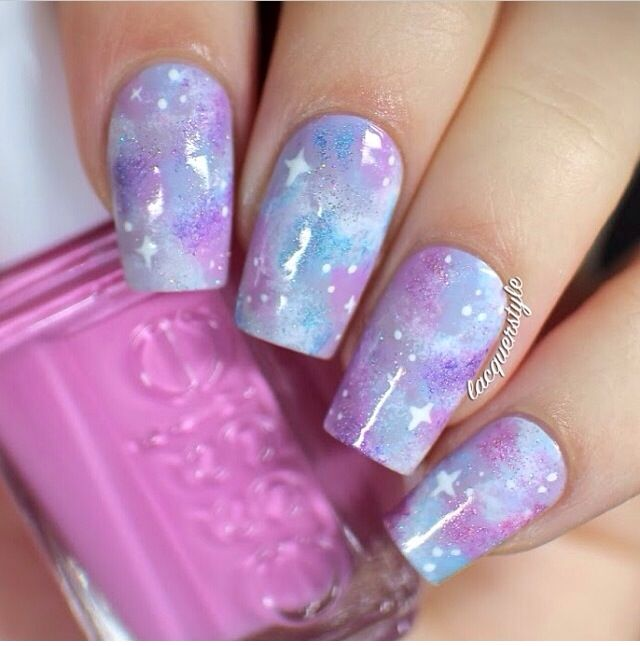 Light Purple and Baby Blue Galaxy Square Nails