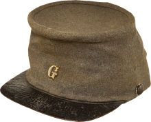 Confederate Cap Worn by a North Carolinian Killed in Action. This exceedingly rare chasseur pattern cap belonged to Private J. Austin Craven, a 29-year-old farmer who served in Company G, 46th North Carolina Volunteer Infantry. The Randolph County native enlisted in April, 1862 and was killed during the Battle of Cold Harbor in June, 1864.