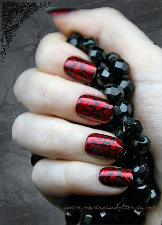 Japonais Nail Art rouge gothique Baroque presse sur faux ongles, Goth, Gothic, Vampire, Halloween, jeu de faux ongles, faux ongles, ongles artificiels