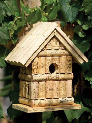 Wine cork birdhouse, ladies crafting day @ Tine's spring 2014 :)                                                                                                                                                                                 More