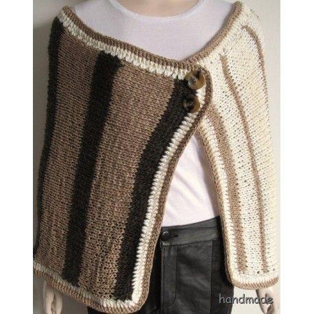 Dámský pletený pléd hnědobéžový, vel. one size, pončo, přehoz, bolerko