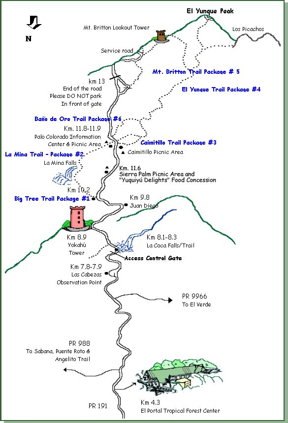 Reference map of the El Yunque main corridor, Hwy. 191
