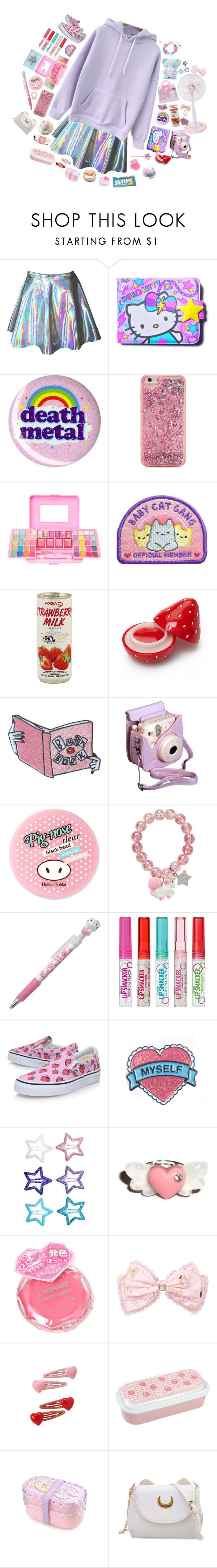 """""""I only live to see people fail"""" by murasaki666 ❤ liked on Polyvore featuring SANRIO, Hot Topic, ban.do, Forever 21, Fuji, Holika Holika, Hello Kitty, Vans, H&M and Canmake"""