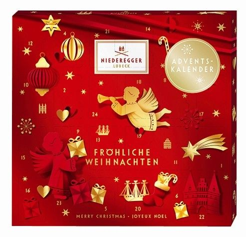 A luxury advent calendar filled with high quality marzipan enrobed in fine dark chocolate from Niederegger. Box measures 20cm square.