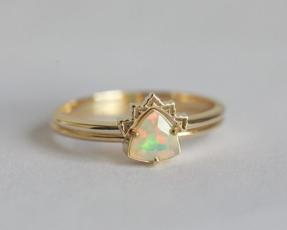 Opal Engagement Ring Set Opal Wedding Ring Lace by MinimalVS (This would be amazing with a clear stone and in silver!)