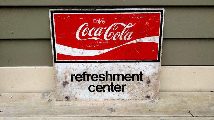 VINTAGE COCA COLA REFRESHMENT CENTER SIGN  #CocaCola