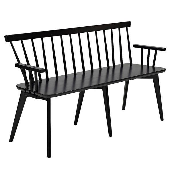 #Black #Wooden #Kitchen #Bench 3 #Seater #Country #Style #Sofa #Dining #Furniture #Backrest