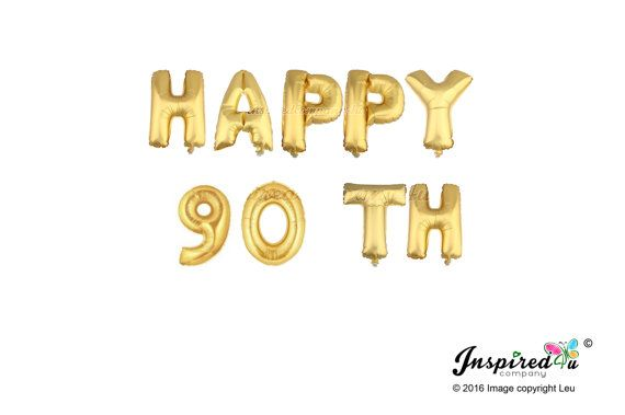 Happy 90 TH Gold Banner Balloon Mylar Foil by inspiredcompany4u