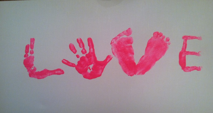 "The word ""LOVE"" made out of the kids' feet and handprints! This was Stephen's Father's Day gift from Hailey and Brooklyn!"