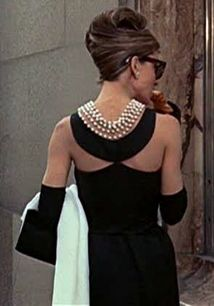 Audrey Hepburn Breakfast At Tiffany's: French Twist, chic Black Dress, Long Gloves, Pearls and Big, Black Sunglasses: All Things I Love.
