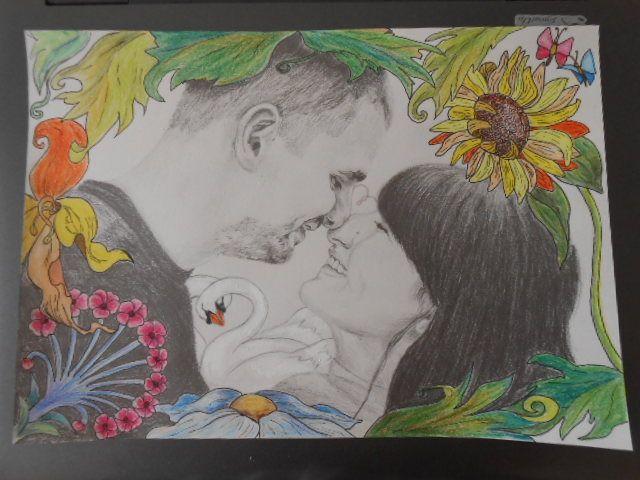 Szerelmespár, A4 ceruza rajz