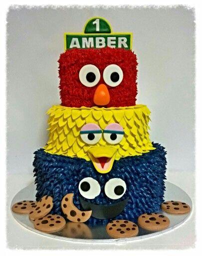 Sesame Street cake. Elmo, Big Bird and Cookie Monster.