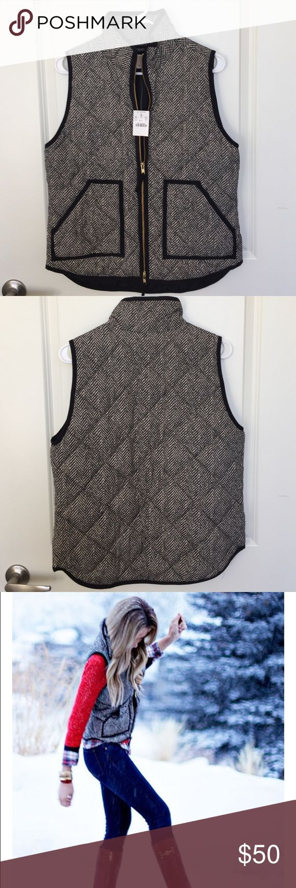 New!! J Crew herringbone puffer vest New with tags! J Crew herringbone puffer vest. Size Small- does run a little big. (I live in the desert and don't have many opportunities to wear it.) J. Crew Jackets & Coats Vests
