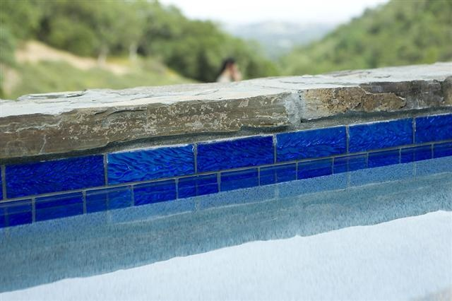 Wonderful Pool Finish Ideas For You To Copy: Lightstreams Glass Waterline Tile