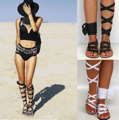 Summer Women Sexy boho Style Lace Up Sandals Gladiator Shoes Flats Scarf Lace Up Shoes