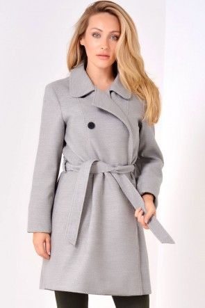 Conchita Double Breasted Coat in Light Grey