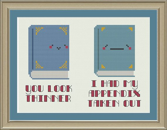 You look thinner: nerdy book cross-stitch pattern