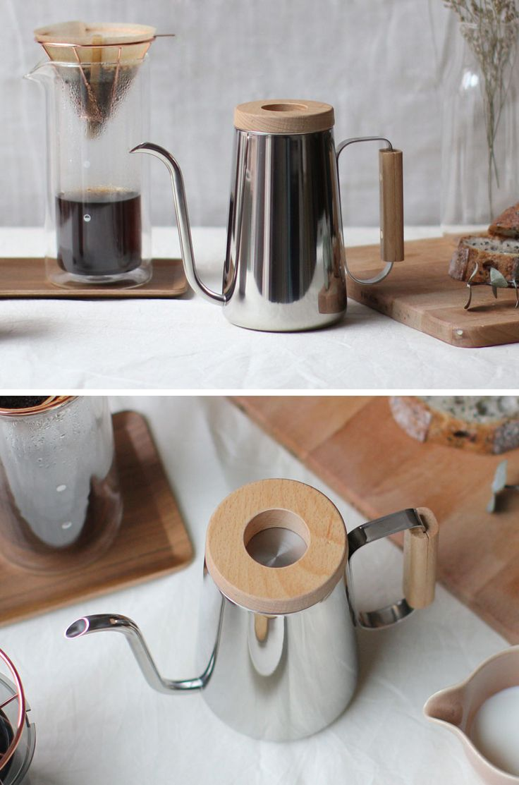 13 Modern Gift Ideas For Coffee Connoisseurs // Stainless steel and wood details make this pour over kettle feel clean and modern and minimal.
