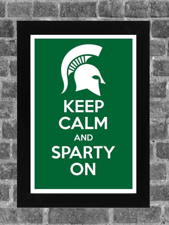 Keep Calm Michigan State Spartans NCAA Print Art by PortlandInkery, $14.99