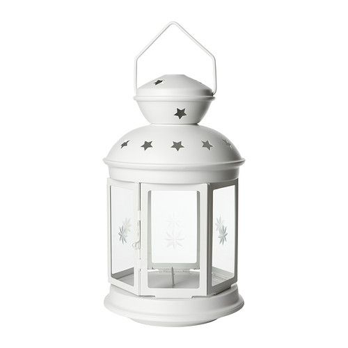 ROTERA Lantern for block candle, white indoor/outdoor white