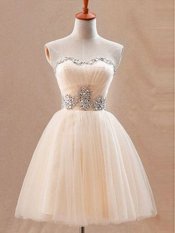short prom dresses,Champagne A-line Sweetheart Short Mini Tulle