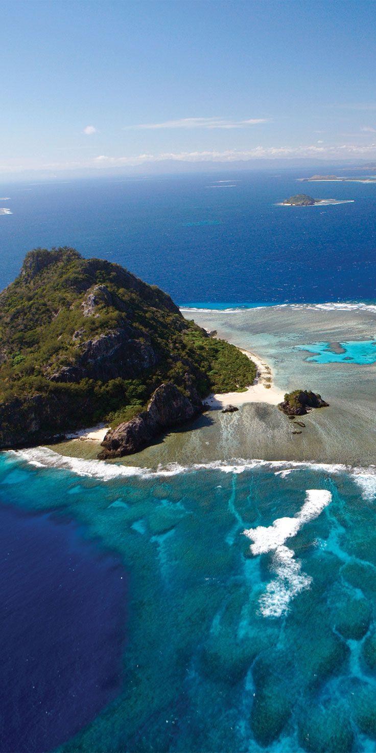 Aerial views of Monuriki Island in Fiji