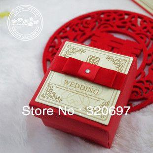 бесплатная доставка! 50pcs/lot высокое качество красные свадебные подарочные коробки/свадьба конфеты коробки US $29.00