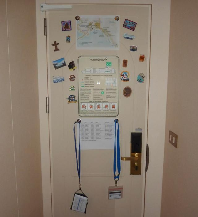 11 Clever Cruise Hacks Seen on Pinterest: Use magnets to turn your stateroom door into a command center #cruise #cruisehacks #packingtips