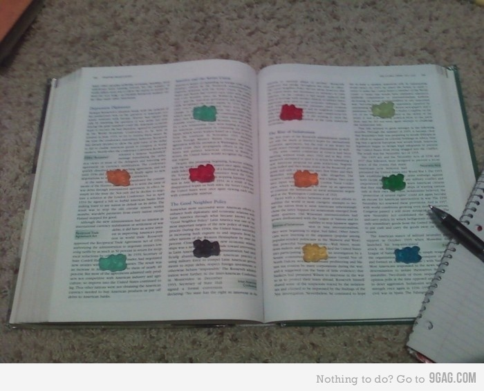 Ha ha ha... reading incentive, when you reach a gummybear, you get to eat it. I've been studying wrong my whole life.