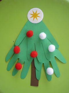 Handprint Pom Pom Christmas Tree Craft for Kids