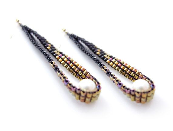 Cleopatra Black Gold Earring Beaded Pixelated by JeannieRichard, $35.00