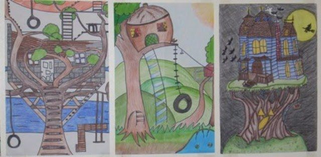 Art Sub Lessons - tree house from imagination