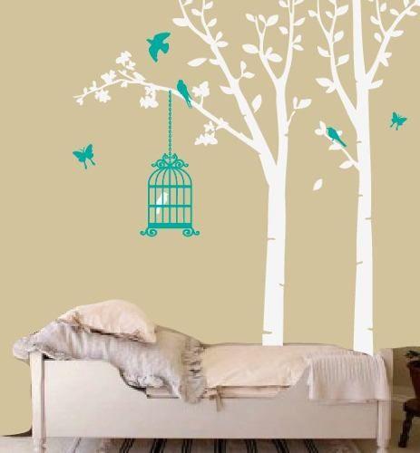 vinilo decorativo arboles jaula y pajaritos bosque suave!