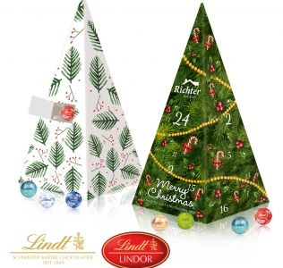 Promotional advent calendar Lindt pyramid shaped chocolate advent calendar with Lindor Chocolate Balls.