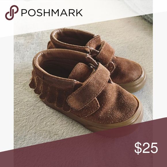 Toddler Brown Suede Fringe Vans So adorable & in good condition! Vans Shoes Sneakers