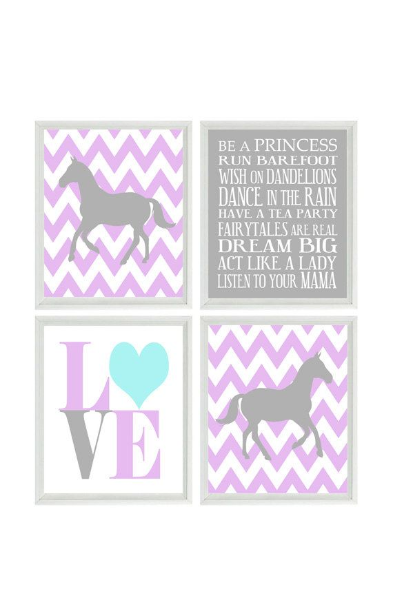 Horse Art Print Set -  Chevron Baby Girl Nursery Prints, Gray Purple Lavender Wall Art  Love -  Nursery Decor Playroom Rules Quote - 4 8x10