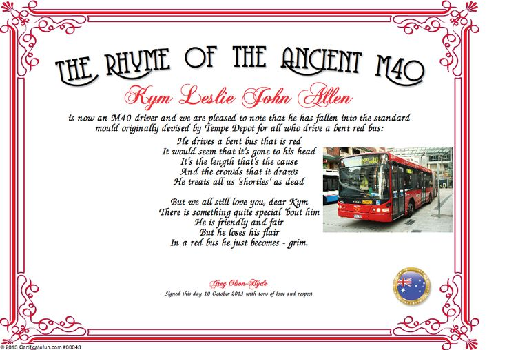 The Rhyme of the Ancient M40. Named as a poem version!