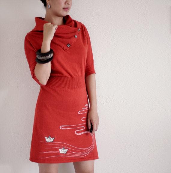 Orange Winter Dress  Knit cotton dress  Handmade by ZoeChen, $78.00