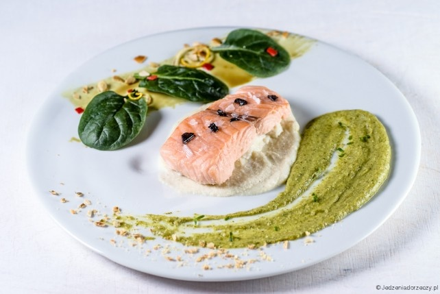 Salmon cooked in 54'C lemon olive oil with parsley root/almond & broccoli/coconut milk sauces