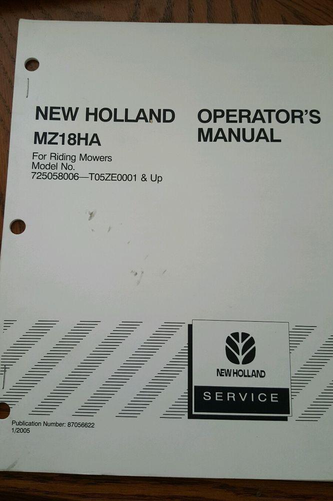 New Holland MZ18HA Lawn Mower Manual Model 725058006-T05ZE0001 Operators | Home & Garden, Yard, Garden & Outdoor Living, Outdoor Power Equipment | eBay!