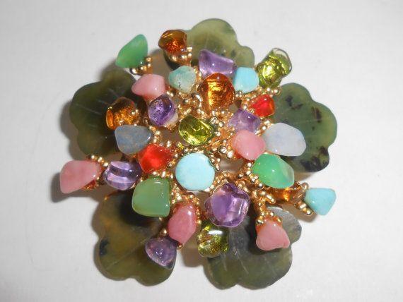 Swoboda Multi Gemstone Brooch Pin Jade Amethyst Peridot