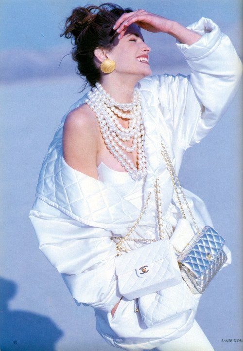 "Stephanie Seymour ""The Great White Way"", Vogue UK, July 1990. Photographed by Sante D'Orazio"