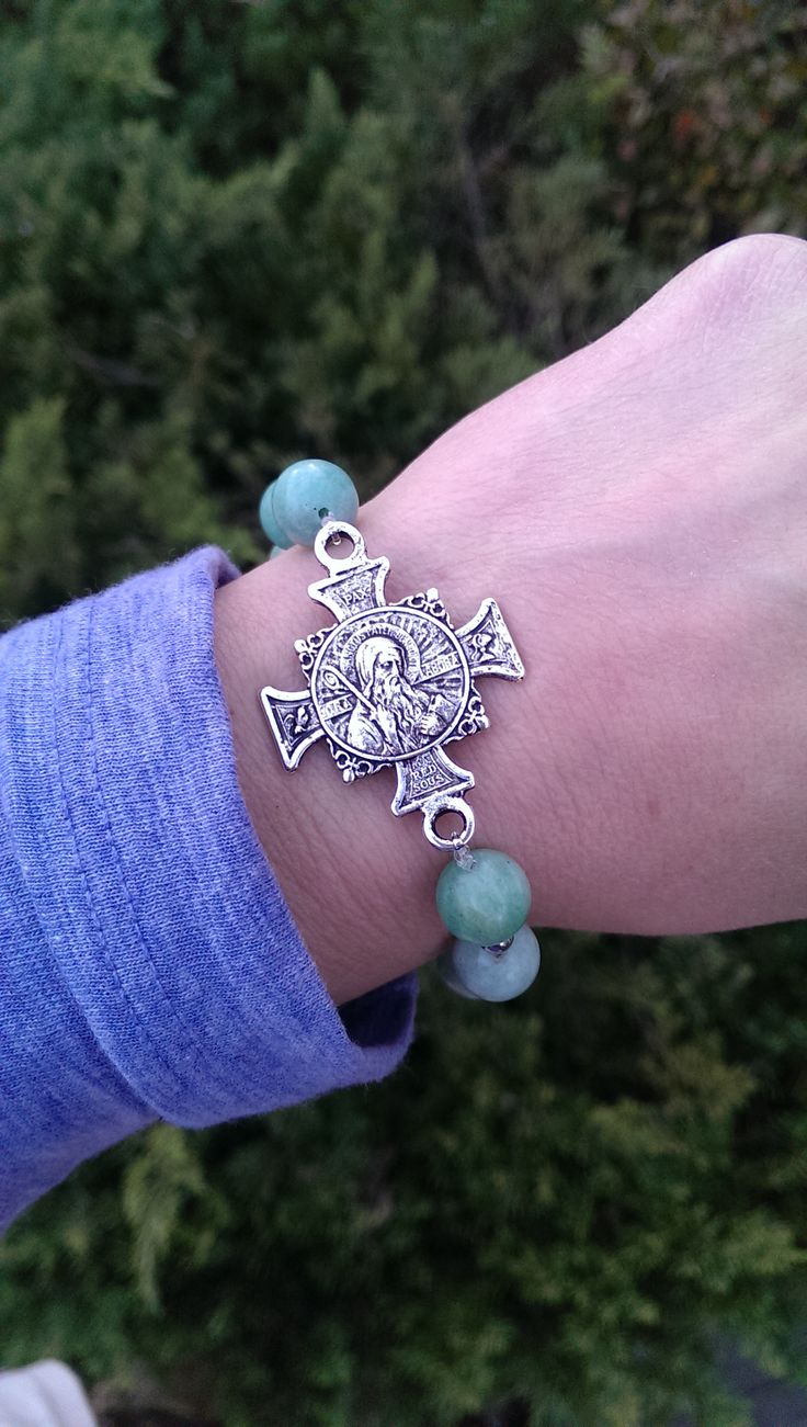Keeping St. Benedict with you - natural jasper and hematite with a vintage St. Benedict cross medal - beautiful!