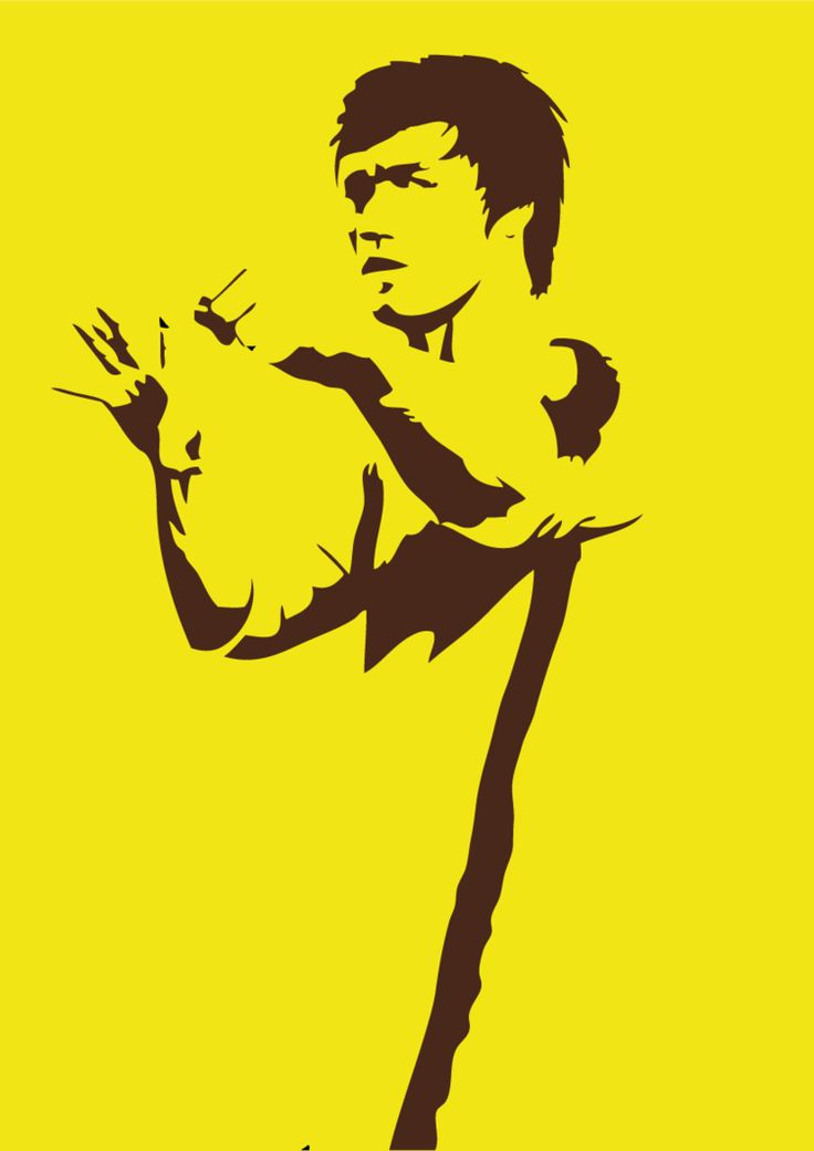 A drawing of the greatest martial artist ever to have lived - Bruce Lee. I drew in the black bits by hand, then filled in the white bits with yellow in photoshop. Yes, the black and yellow IS a ref...