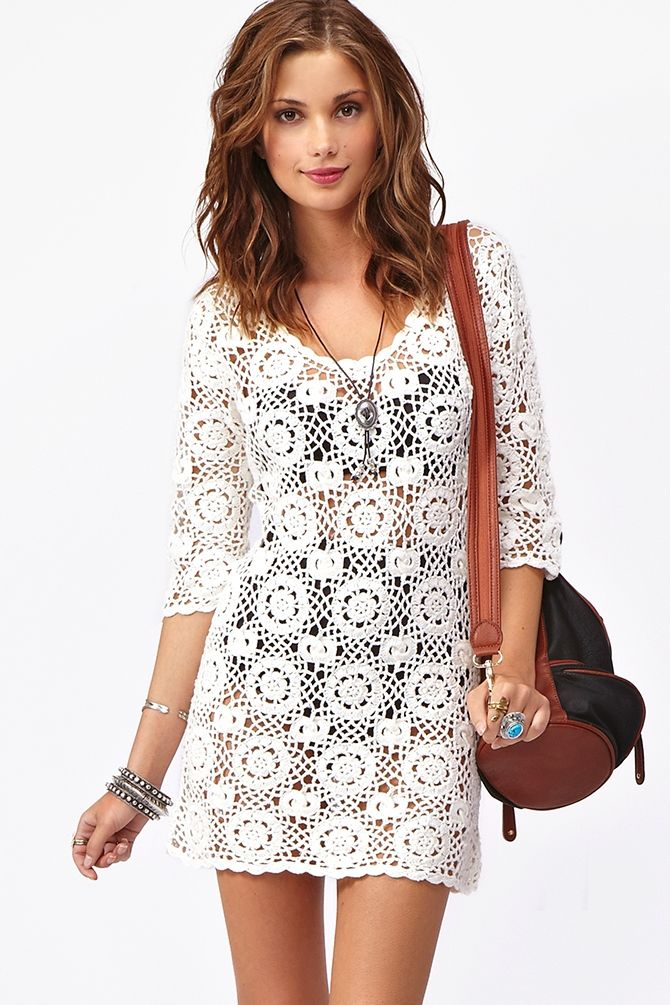 White Crochet Dress: