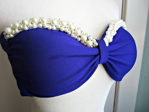 Hermosa sirena perla Bikini Top  encargo  concha púrpura