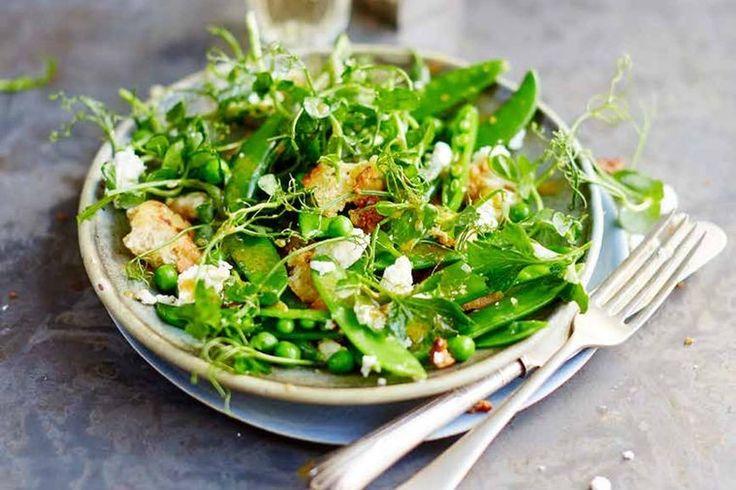 Crunchy ciabatta, fresh peas and feta make this the perfect spring side salad.