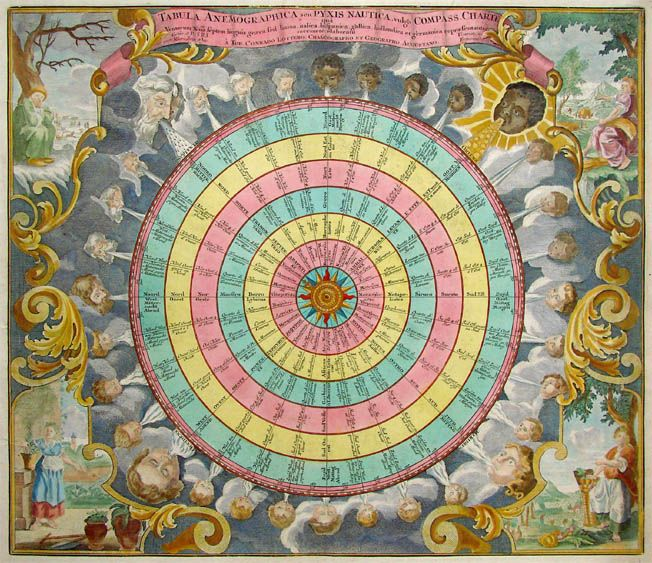 Spectacular combination of wind rose and compass rose, with allegories of the four seasons in the corners. Some of the northern and southern winds are believed to bring diseases, as is clear from the associated windheads.   MAKERLotter TITLEAnemographica PLACE ISSUEDAugsburg FIRST EDITION1776
